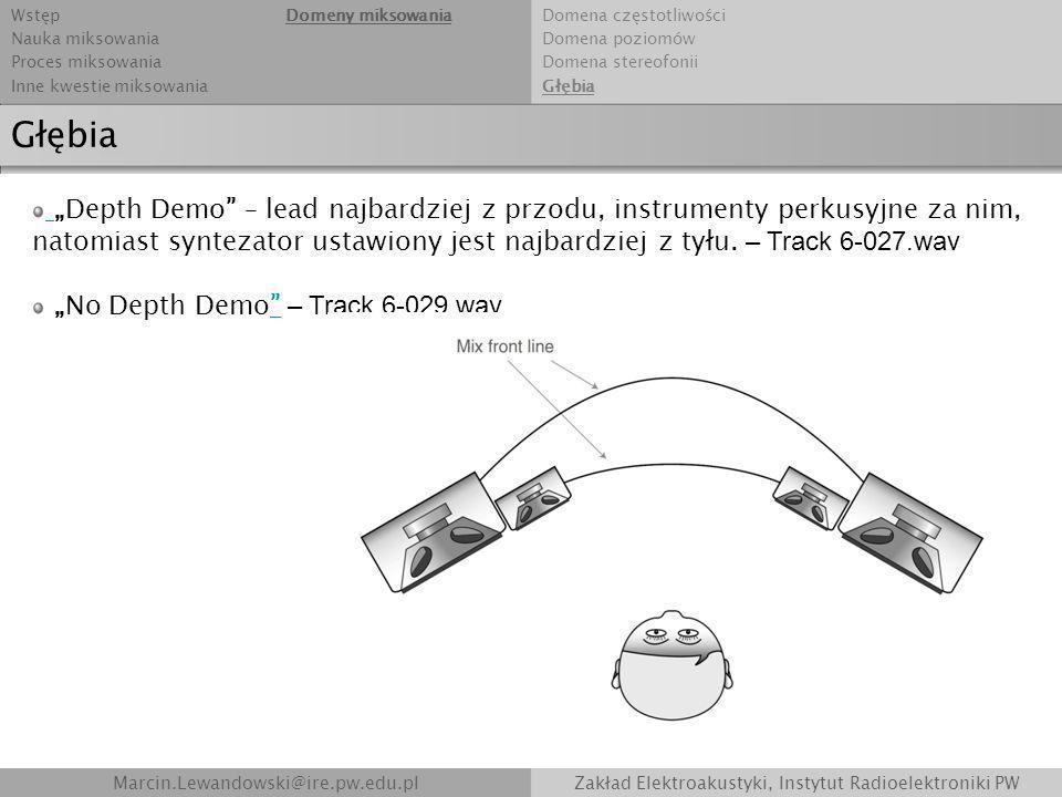 Marcin.Lewandowski@ire.pw.edu.plZakład Elektroakustyki, Instytut Radioelektroniki PW Głębia Depth Demo – lead najbardziej z przodu, instrumenty perkus