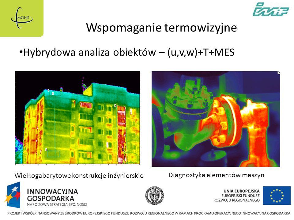 Wspomaganie termowizyjne Wielkogabarytowe konstrukcje inżynierskie Diagnostyka elementów maszyn Hybrydowa analiza obiektów – (u,v,w)+T+MES