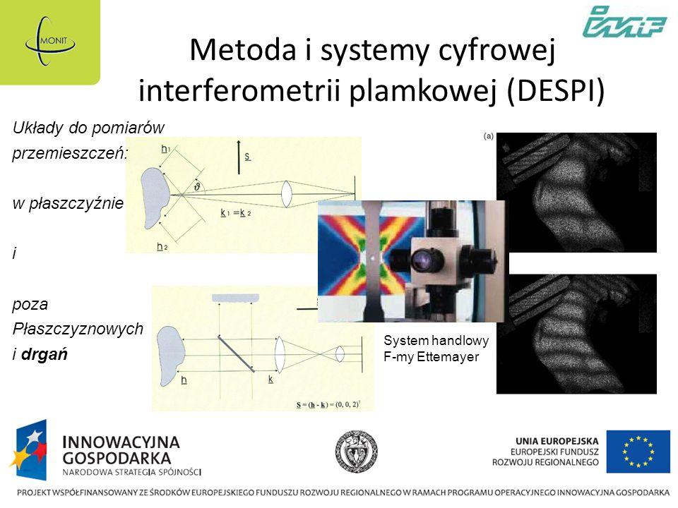 Metoda i systemy cyfrowej interferometrii plamkowej (DESPI) Układy do pomiarów przemieszczeń: w płaszczyźnie i poza Płaszczyznowych i drgań System handlowy F-my Ettemayer