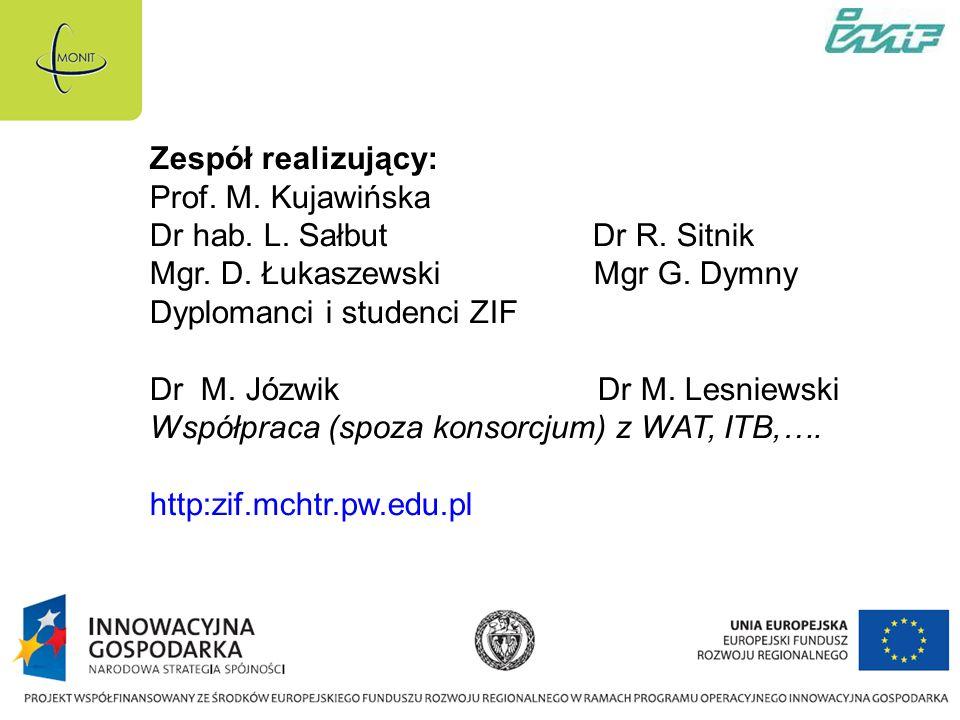 Zespół realizujący: Prof.M. Kujawińska Dr hab. L.