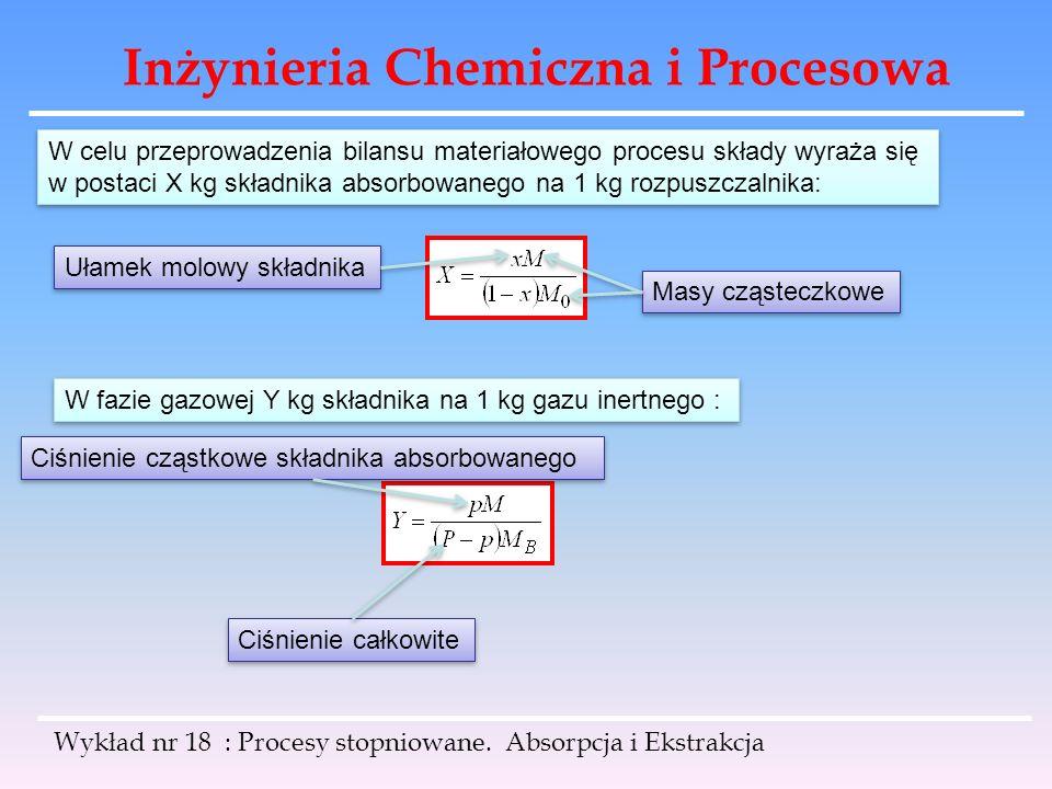 Inżynieria Chemiczna i Procesowa W celu przeprowadzenia bilansu materiałowego procesu składy wyraża się w postaci X kg składnika absorbowanego na 1 kg