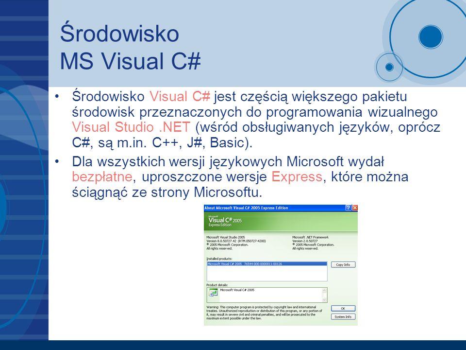 Środowisko MS Visual C# Środowisko Visual C# jest częścią większego pakietu środowisk przeznaczonych do programowania wizualnego Visual Studio.NET (wś