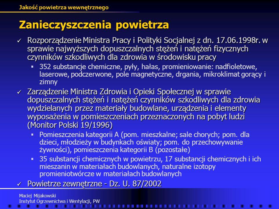 Jakość powietrza wewnętrznego Maciej Mijakowski Instytut Ogrzewnictwa i Wentylacji, PW Zanieczyszczenia powietrza Zanieczyszczenia chemiczne Zanieczys