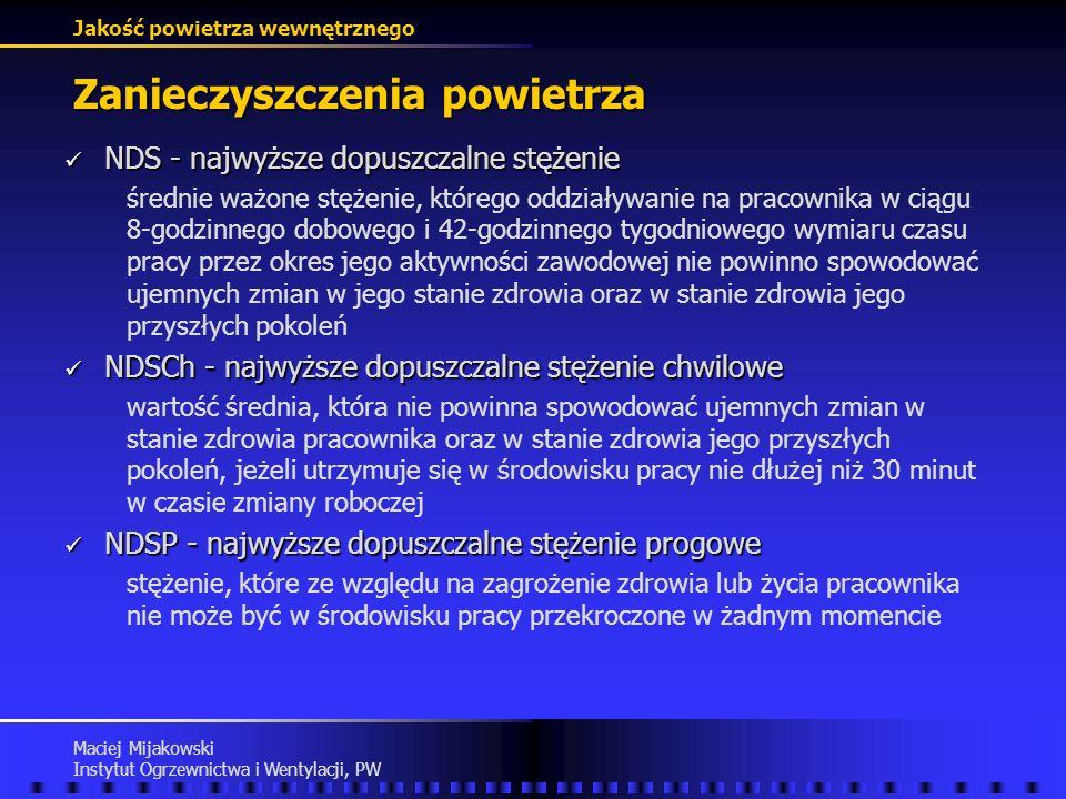 Jakość powietrza wewnętrznego Maciej Mijakowski Instytut Ogrzewnictwa i Wentylacji, PW Zanieczyszczenia powietrza Rozporządzenie Ministra Pracy i Poli