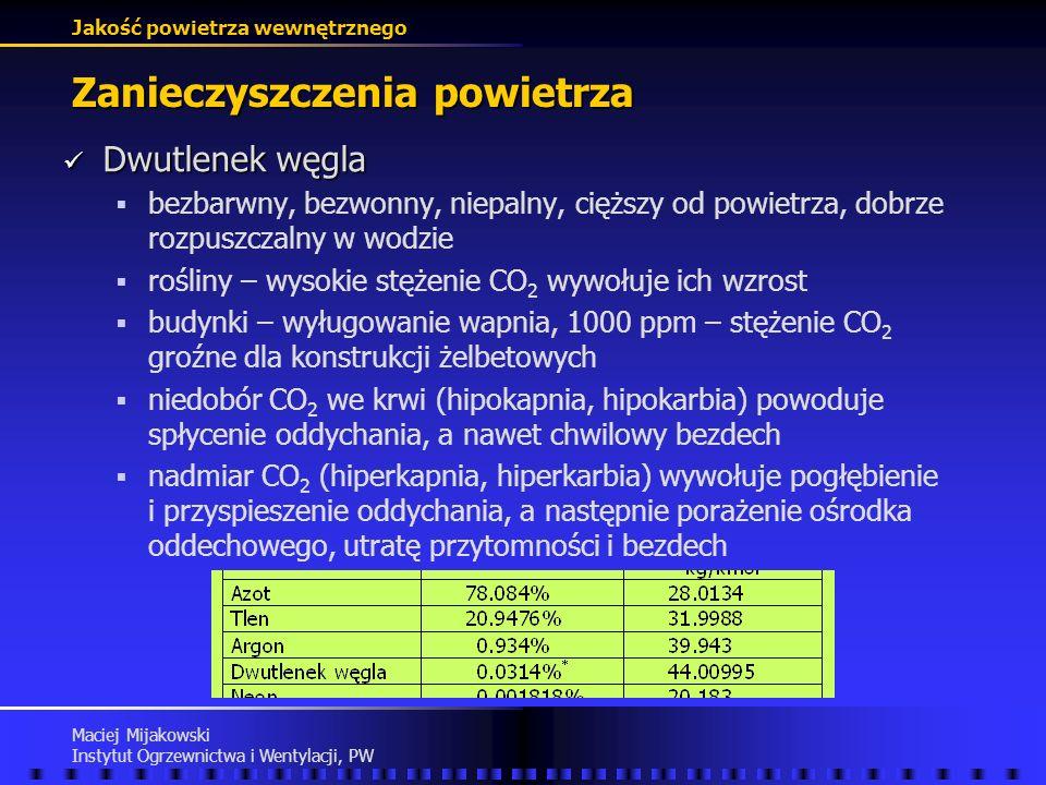 Jakość powietrza wewnętrznego Maciej Mijakowski Instytut Ogrzewnictwa i Wentylacji, PW Zanieczyszczenia powietrza NDS - najwyższe dopuszczalne stężeni
