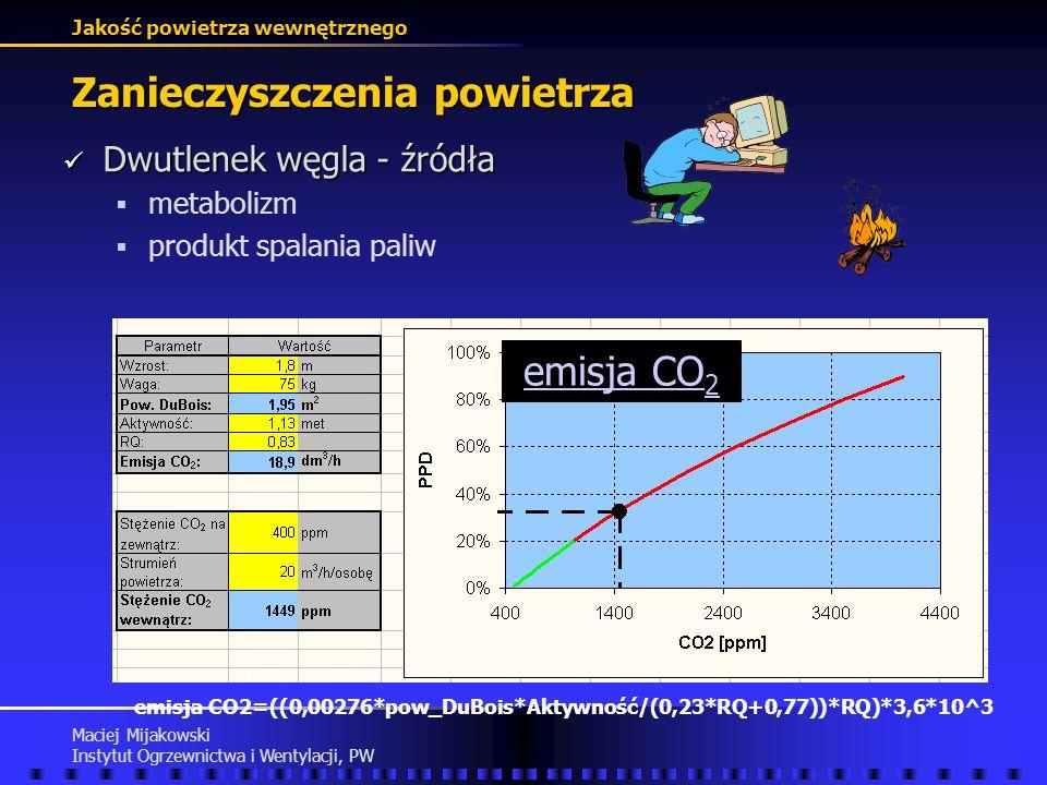 Jakość powietrza wewnętrznego Maciej Mijakowski Instytut Ogrzewnictwa i Wentylacji, PW Zanieczyszczenia powietrza Dwutlenek węgla - wartości stężeń Dw