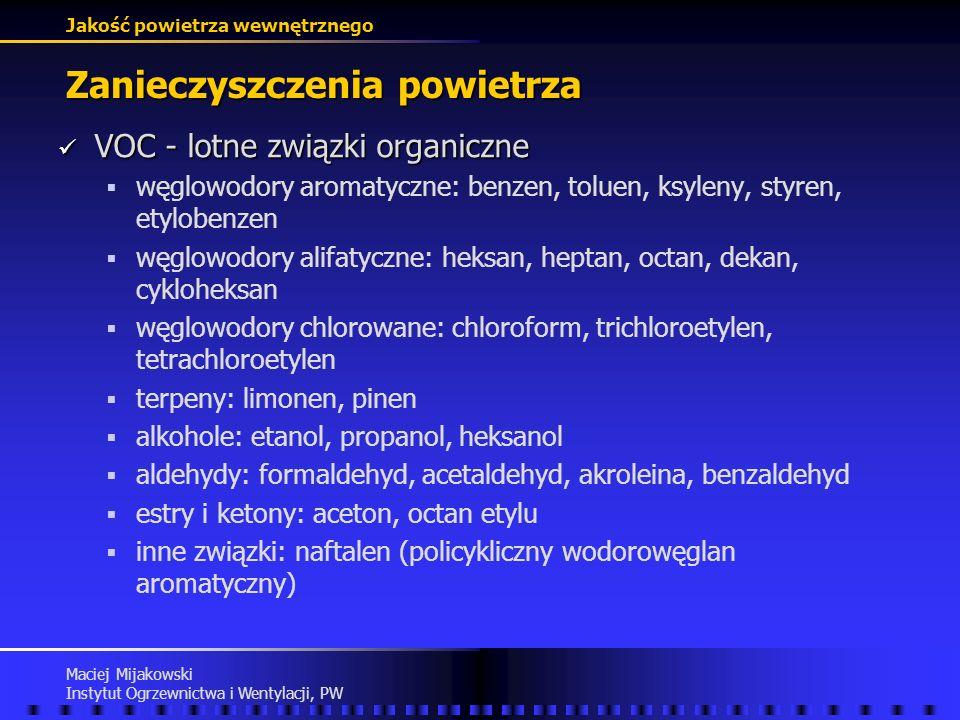 Jakość powietrza wewnętrznego Maciej Mijakowski Instytut Ogrzewnictwa i Wentylacji, PW Zanieczyszczenia powietrza Formaldehyd Formaldehyd podrażnienie