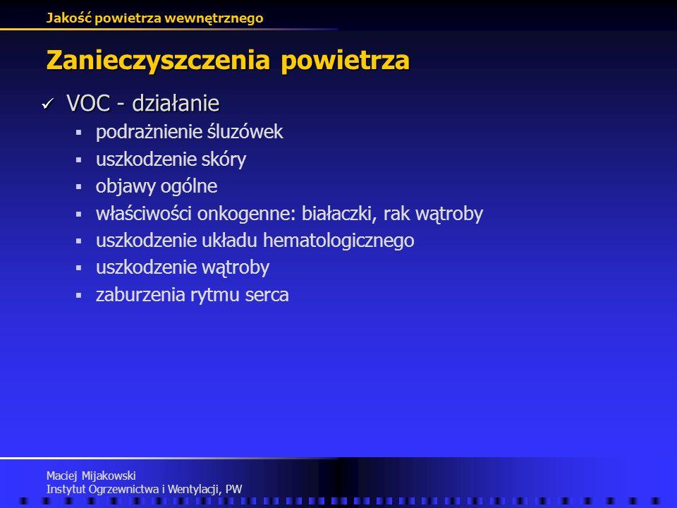 Jakość powietrza wewnętrznego Maciej Mijakowski Instytut Ogrzewnictwa i Wentylacji, PW Zanieczyszczenia powietrza VOC - lotne związki organiczne VOC -