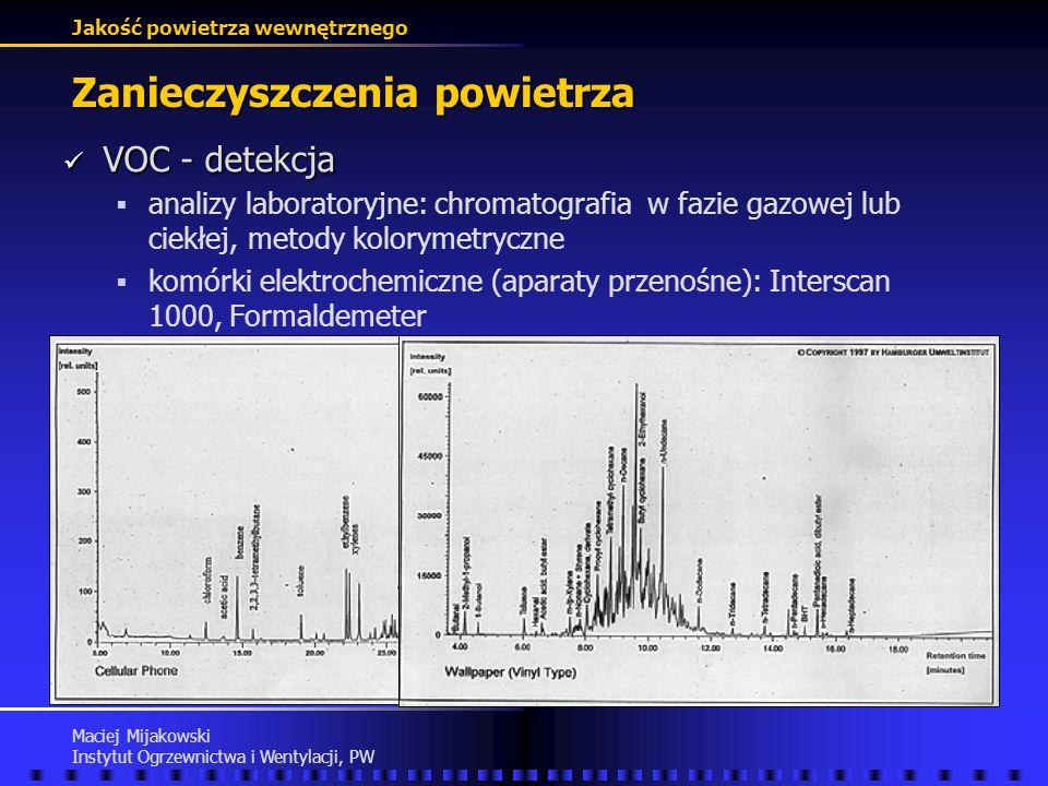 Jakość powietrza wewnętrznego Maciej Mijakowski Instytut Ogrzewnictwa i Wentylacji, PW Zanieczyszczenia powietrza VOC - działanie VOC - działanie podr
