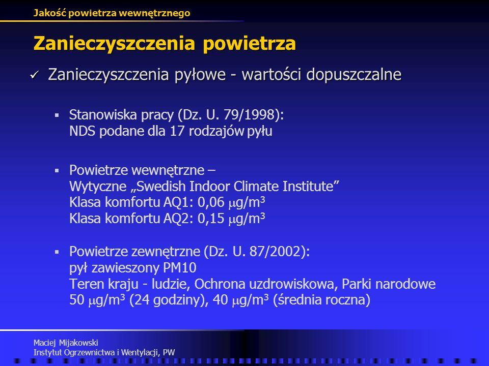 Jakość powietrza wewnętrznego Maciej Mijakowski Instytut Ogrzewnictwa i Wentylacji, PW Zanieczyszczenia powietrza Zanieczyszczenia pyłowe - choroby wy