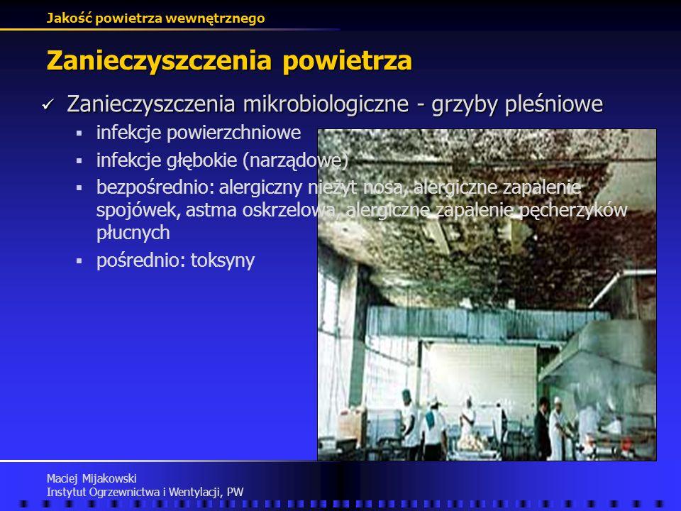 Jakość powietrza wewnętrznego Maciej Mijakowski Instytut Ogrzewnictwa i Wentylacji, PW Zanieczyszczenia powietrza Zanieczyszczenia mikrobiologiczne Za