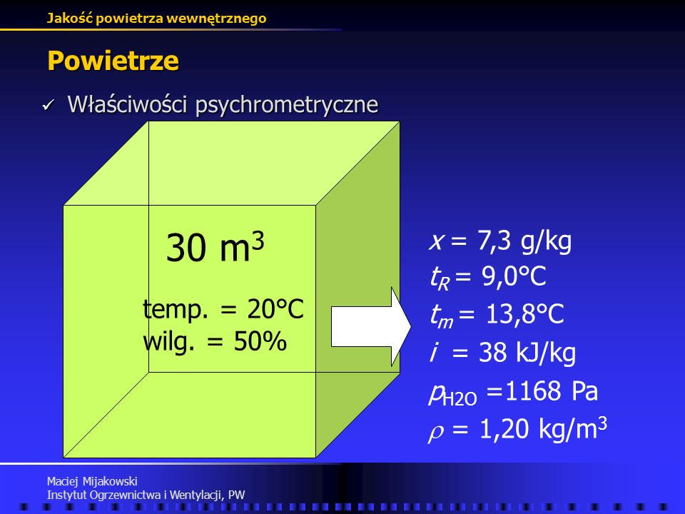 Jakość powietrza wewnętrznego Maciej Mijakowski Instytut Ogrzewnictwa i Wentylacji, PW Zanieczyszczenia powietrza Dwutlenek węgla - źródła Dwutlenek węgla - źródła metabolizm produkt spalania paliw emisja CO 2 emisja CO2=((0,00276*pow_DuBois*Aktywność/(0,23*RQ+0,77))*RQ)*3,6*10^3