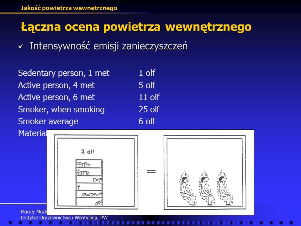 Jakość powietrza wewnętrznego Maciej Mijakowski Instytut Ogrzewnictwa i Wentylacji, PW Łączna ocena powietrza wewnętrznego Ocena stopnia zanieczyszcze