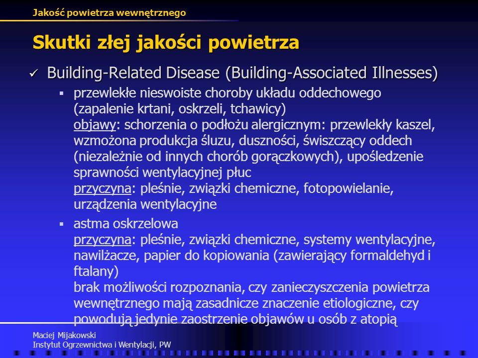 Jakość powietrza wewnętrznego Maciej Mijakowski Instytut Ogrzewnictwa i Wentylacji, PW Skutki złej jakości powietrza Sick-Building Syndrome (SBS) Sick