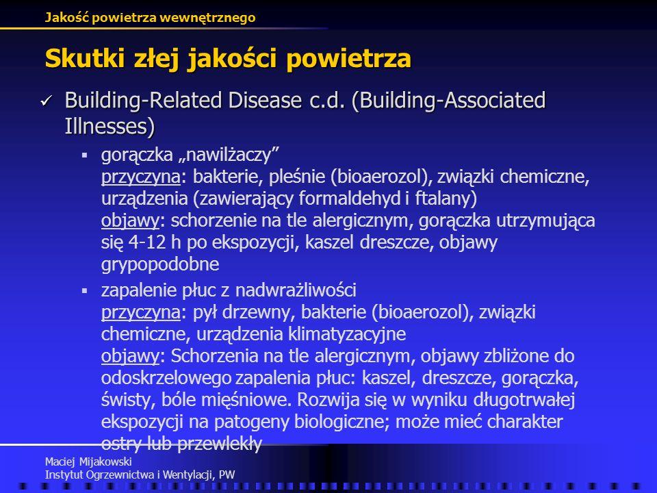 Jakość powietrza wewnętrznego Maciej Mijakowski Instytut Ogrzewnictwa i Wentylacji, PW Skutki złej jakości powietrza Building-Related Disease (Buildin