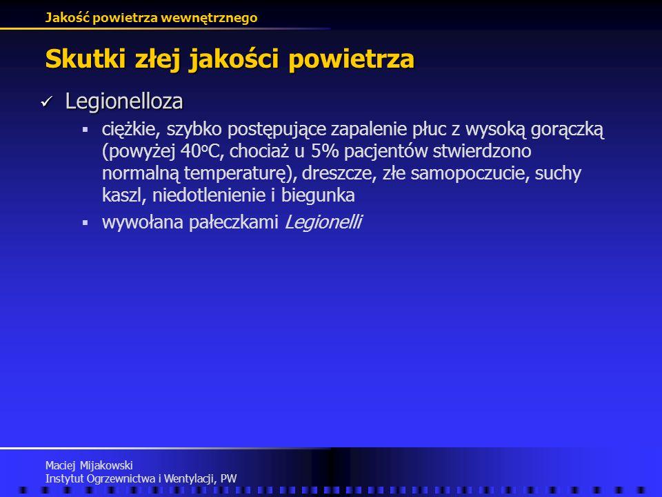 Jakość powietrza wewnętrznego Maciej Mijakowski Instytut Ogrzewnictwa i Wentylacji, PW Skutki złej jakości powietrza Building-Related Disease c.d. (Bu