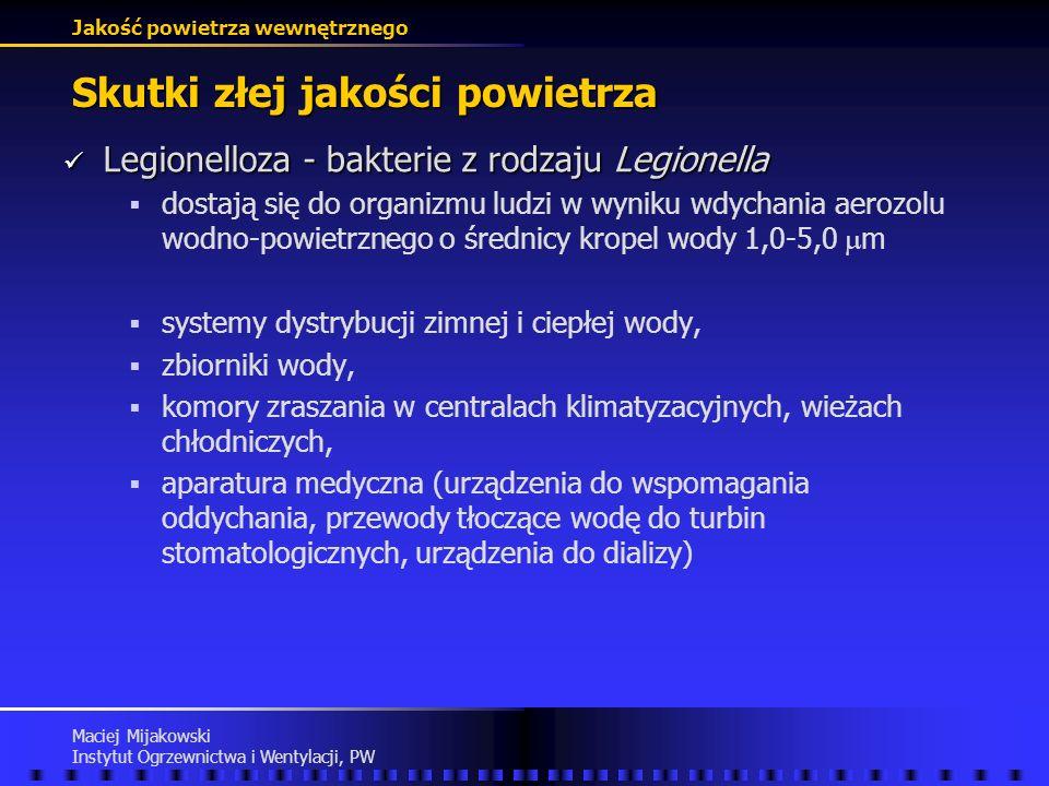 Jakość powietrza wewnętrznego Maciej Mijakowski Instytut Ogrzewnictwa i Wentylacji, PW Skutki złej jakości powietrza Legionelloza Legionelloza ciężkie