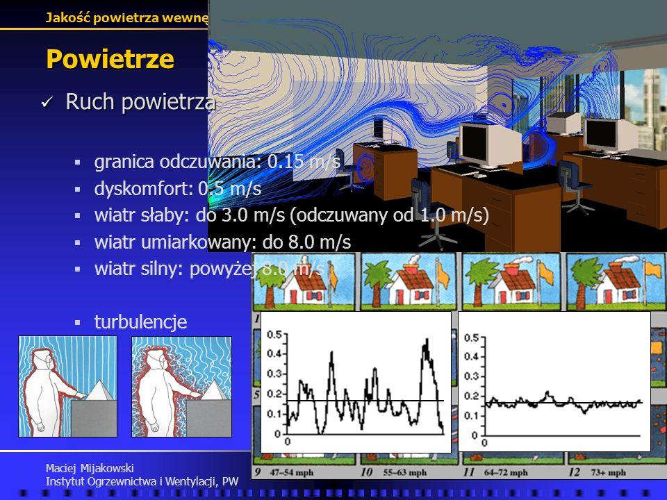 Jakość powietrza wewnętrznego Maciej Mijakowski Instytut Ogrzewnictwa i Wentylacji, PW Powietrze Ruch powietrza Ruch powietrza granica odczuwania: 0.15 m/s dyskomfort: 0.5 m/s wiatr słaby: do 3.0 m/s (odczuwany od 1.0 m/s) wiatr umiarkowany: do 8.0 m/s wiatr silny: powyżej 8.0 m/s turbulencje