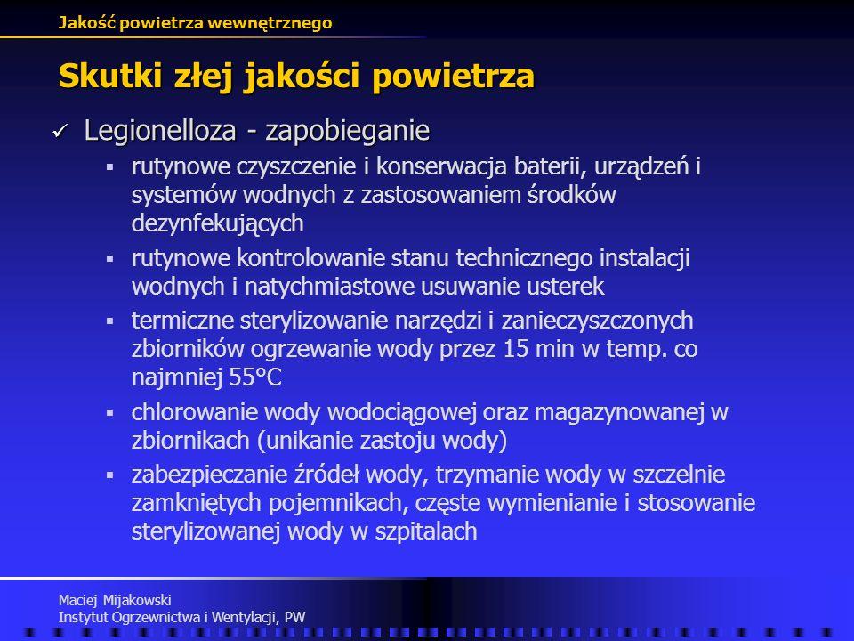 Jakość powietrza wewnętrznego Maciej Mijakowski Instytut Ogrzewnictwa i Wentylacji, PW Skutki złej jakości powietrza Legionelloza - zachorowania Legio
