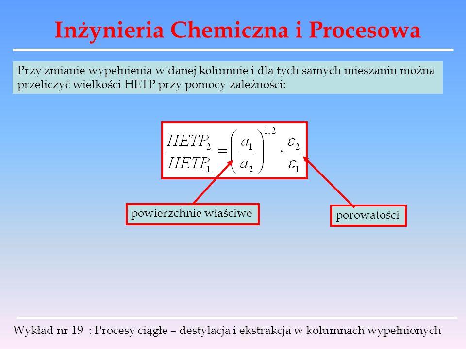 Inżynieria Chemiczna i Procesowa Wykład nr 19 : Procesy ciągłe – destylacja i ekstrakcja w kolumnach wypełnionych Przy zmianie wypełnienia w danej kol