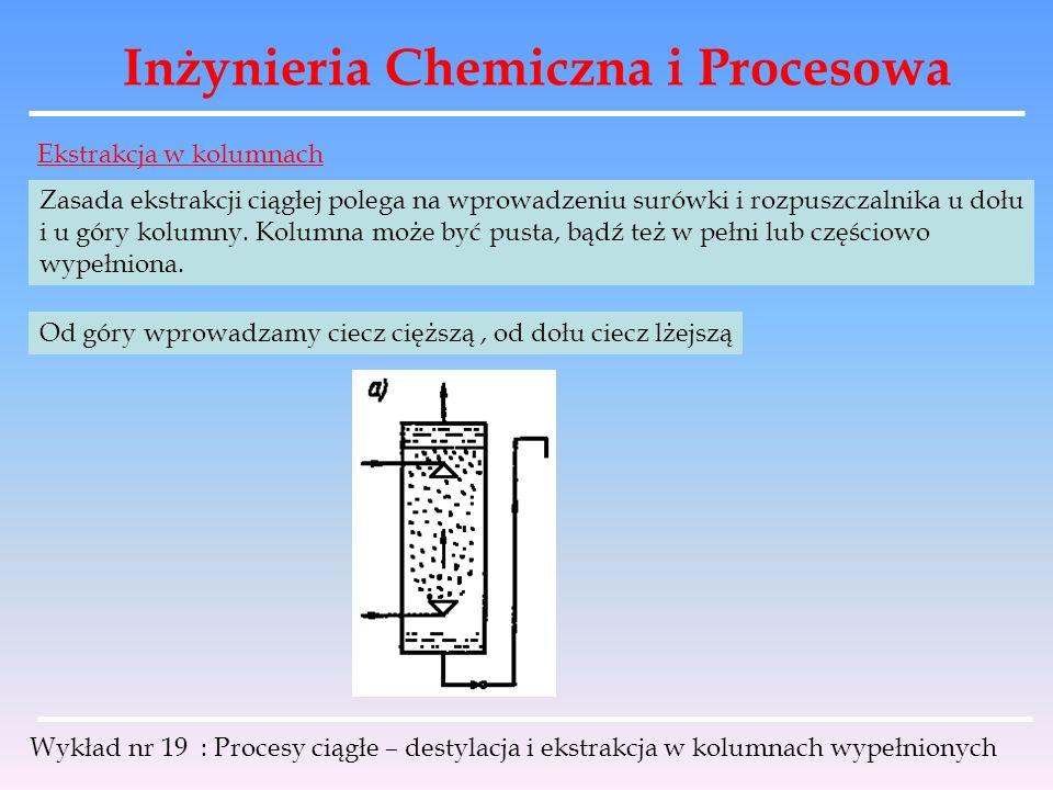 Inżynieria Chemiczna i Procesowa Wykład nr 19 : Procesy ciągłe – destylacja i ekstrakcja w kolumnach wypełnionych Ekstrakcja w kolumnach Zasada ekstra