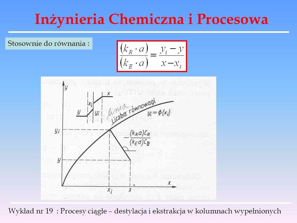 Inżynieria Chemiczna i Procesowa Wykład nr 19 : Procesy ciągłe – destylacja i ekstrakcja w kolumnach wypełnionych Stosownie do równania :