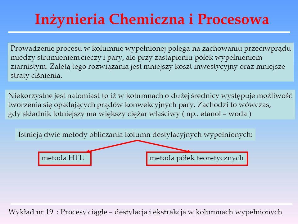 Inżynieria Chemiczna i Procesowa Wykład nr 19 : Procesy ciągłe – destylacja i ekstrakcja w kolumnach wypełnionych Prowadzenie procesu w kolumnie wypeł