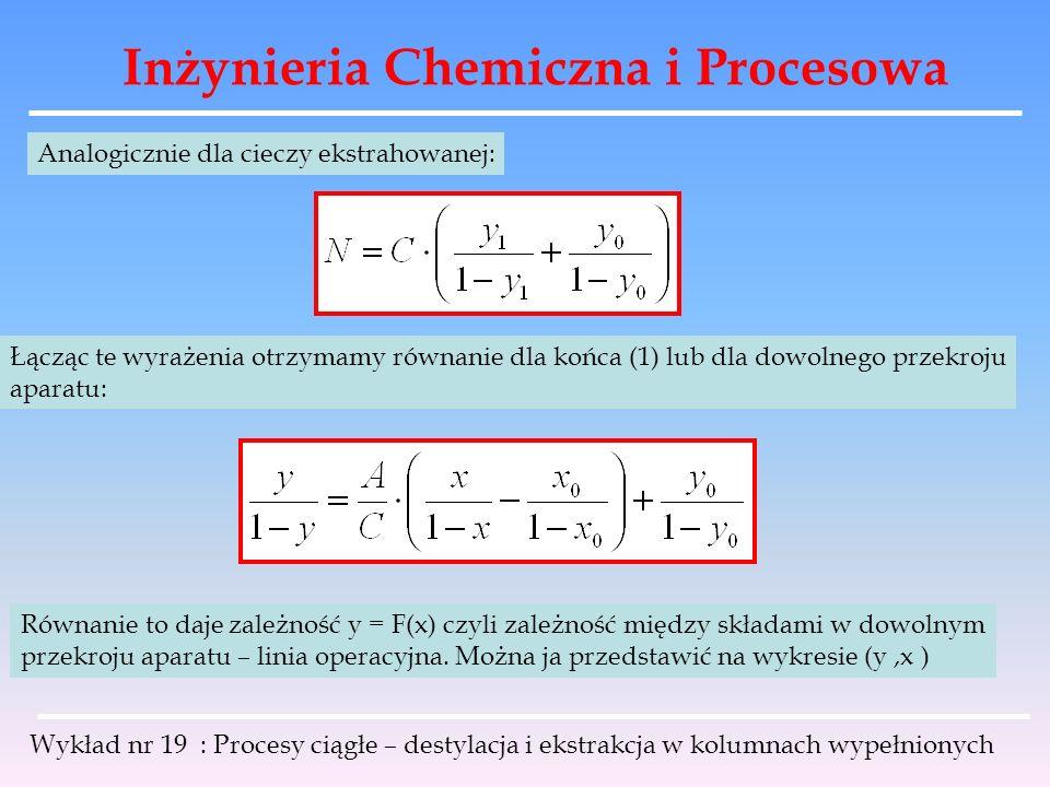 Inżynieria Chemiczna i Procesowa Wykład nr 19 : Procesy ciągłe – destylacja i ekstrakcja w kolumnach wypełnionych Analogicznie dla cieczy ekstrahowane