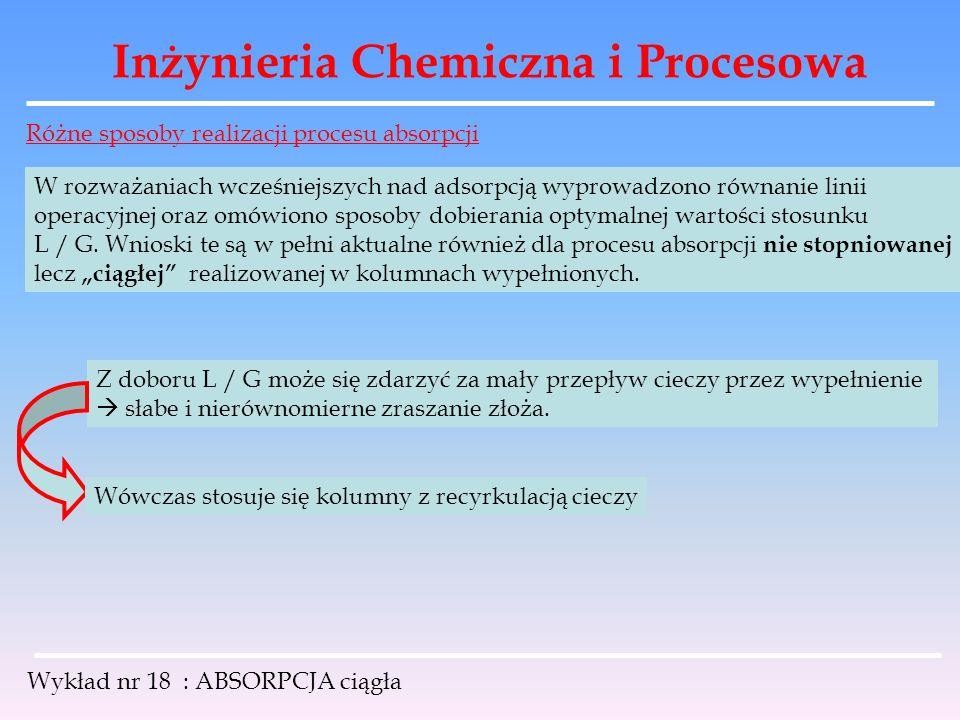 Inżynieria Chemiczna i Procesowa Wykład nr 18 : ABSORPCJA ciągła Różne sposoby realizacji procesu absorpcji W rozważaniach wcześniejszych nad adsorpcj