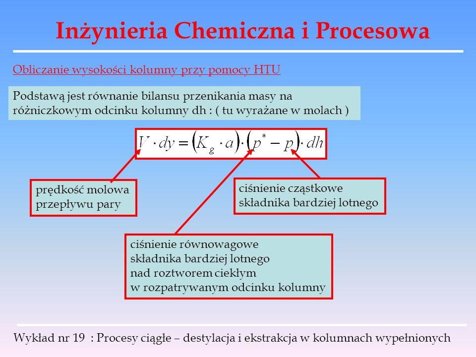 Inżynieria Chemiczna i Procesowa Wykład nr 19 : Procesy ciągłe – destylacja i ekstrakcja w kolumnach wypełnionych Obliczanie wysokości kolumny przy po