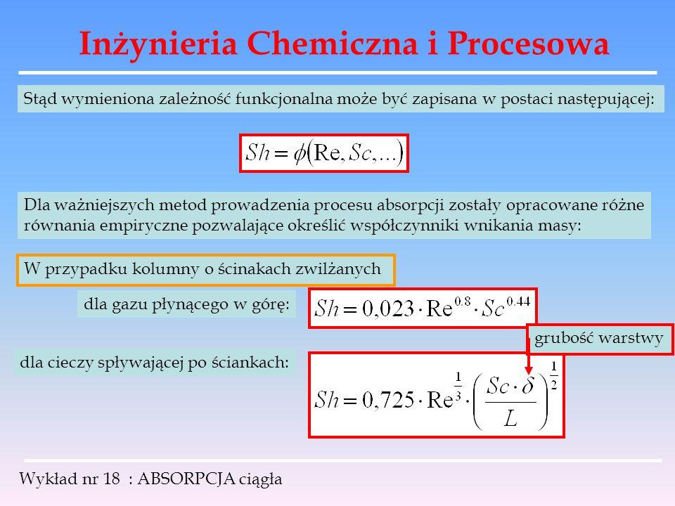 Inżynieria Chemiczna i Procesowa Wykład nr 18 : ABSORPCJA ciągła Stąd wymieniona zależność funkcjonalna może być zapisana w postaci następującej: Dla
