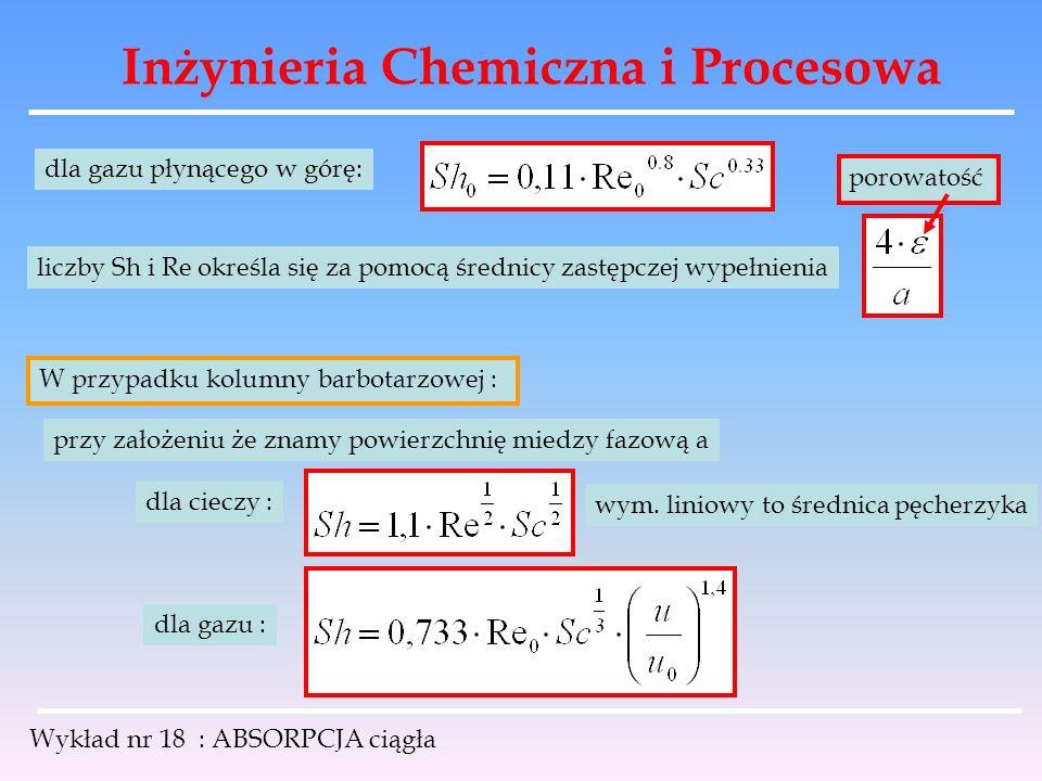 Inżynieria Chemiczna i Procesowa Wykład nr 18 : ABSORPCJA ciągła dla gazu płynącego w górę: liczby Sh i Re określa się za pomocą średnicy zastępczej w