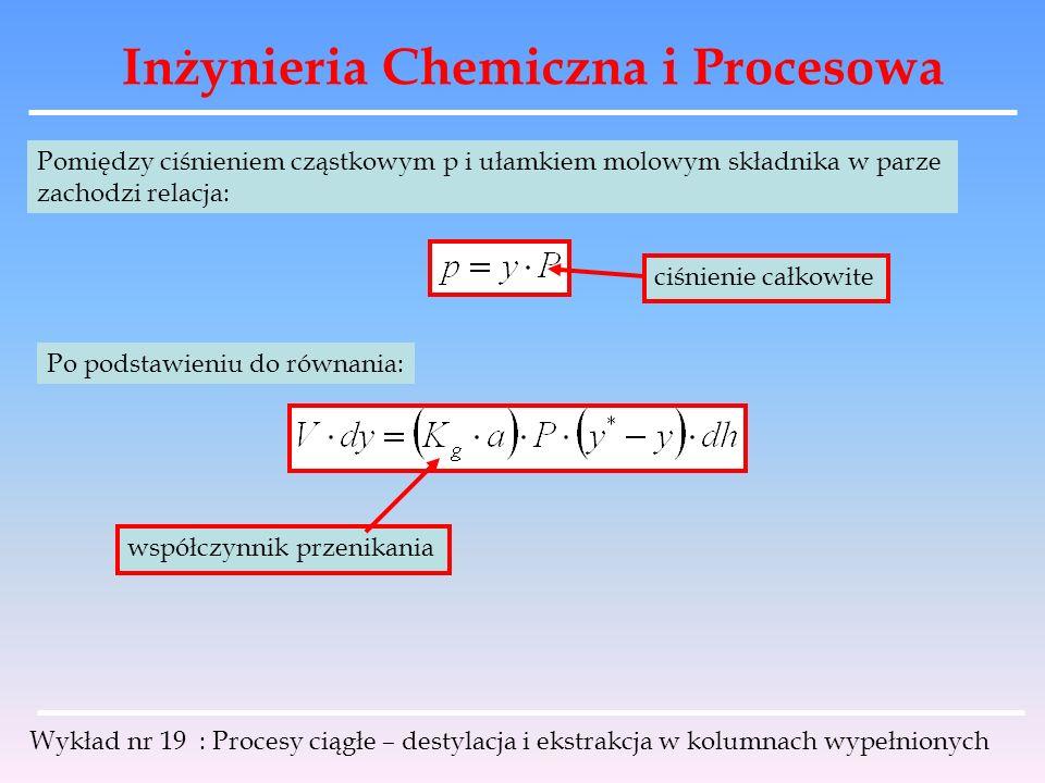 Inżynieria Chemiczna i Procesowa Wykład nr 19 : Procesy ciągłe – destylacja i ekstrakcja w kolumnach wypełnionych Pomiędzy ciśnieniem cząstkowym p i u