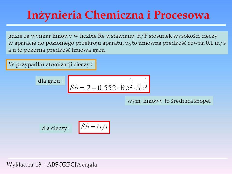 Inżynieria Chemiczna i Procesowa Wykład nr 18 : ABSORPCJA ciągła gdzie za wymiar liniowy w liczbie Re wstawiamy h/F stosunek wysokości cieczy w aparac