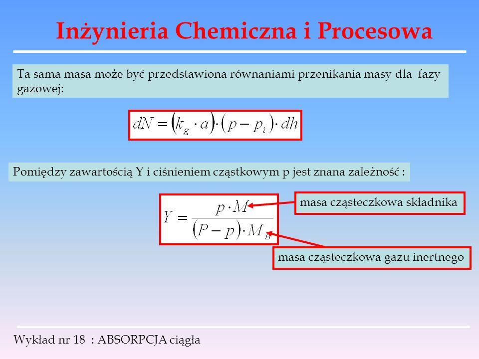Inżynieria Chemiczna i Procesowa Wykład nr 18 : ABSORPCJA ciągła Ta sama masa może być przedstawiona równaniami przenikania masy dla fazy gazowej: Pom
