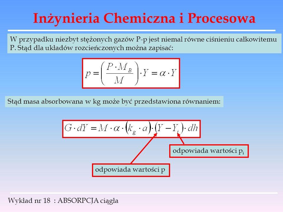 Inżynieria Chemiczna i Procesowa Wykład nr 18 : ABSORPCJA ciągła W przypadku niezbyt stężonych gazów P-p jest niemal równe ciśnieniu całkowitemu P. St