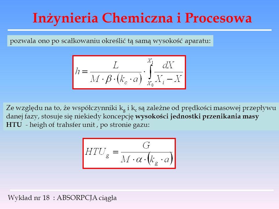 Inżynieria Chemiczna i Procesowa Wykład nr 18 : ABSORPCJA ciągła pozwala ono po scałkowaniu określić tą samą wysokość aparatu: Ze względu na to, że ws