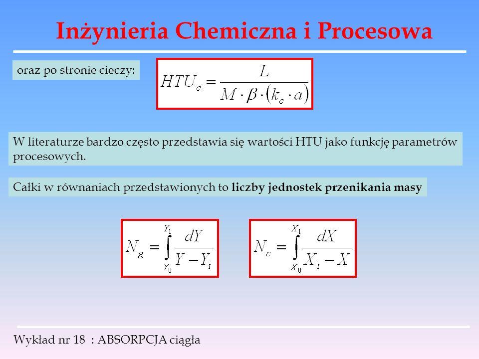 Inżynieria Chemiczna i Procesowa Wykład nr 18 : ABSORPCJA ciągła oraz po stronie cieczy: W literaturze bardzo często przedstawia się wartości HTU jako