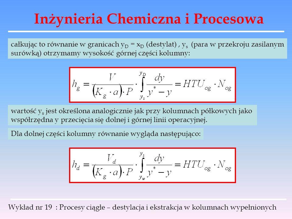Inżynieria Chemiczna i Procesowa Wykład nr 19 : Procesy ciągłe – destylacja i ekstrakcja w kolumnach wypełnionych całkując to równanie w granicach y D