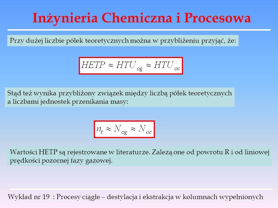 Inżynieria Chemiczna i Procesowa Wykład nr 19 : Procesy ciągłe – destylacja i ekstrakcja w kolumnach wypełnionych Przy dużej liczbie półek teoretyczny