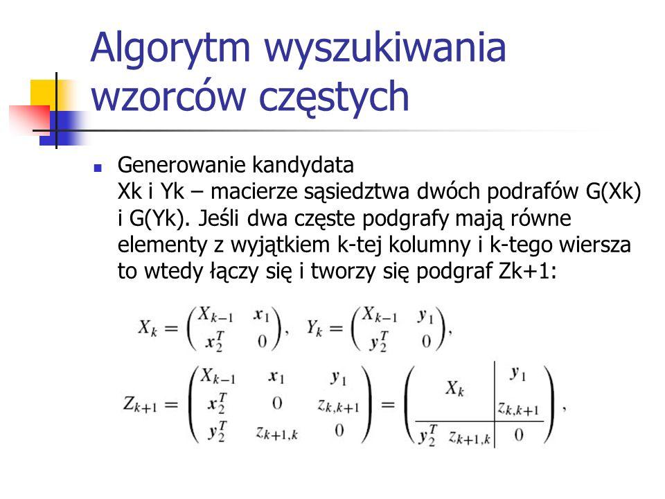 Algorytm wyszukiwania wzorców częstych Generowanie kandydata Xk i Yk – macierze sąsiedztwa dwóch podrafów G(Xk) i G(Yk). Jeśli dwa częste podgrafy maj