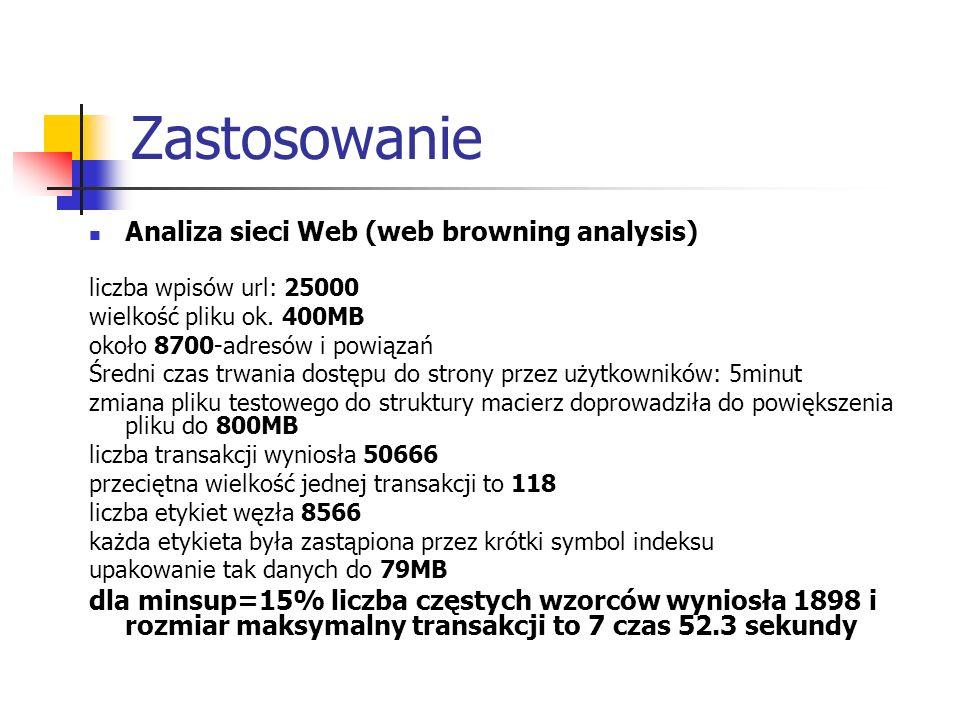 Zastosowanie Analiza sieci Web (web browning analysis) liczba wpisów url: 25000 wielkość pliku ok. 400MB około 8700-adresów i powiązań Średni czas trw