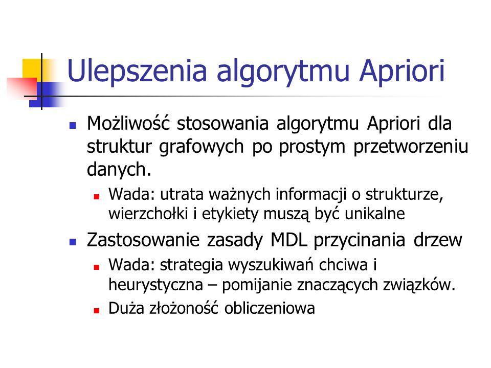 Ulepszenia algorytmu Apriori Możliwość stosowania algorytmu Apriori dla struktur grafowych po prostym przetworzeniu danych. Wada: utrata ważnych infor