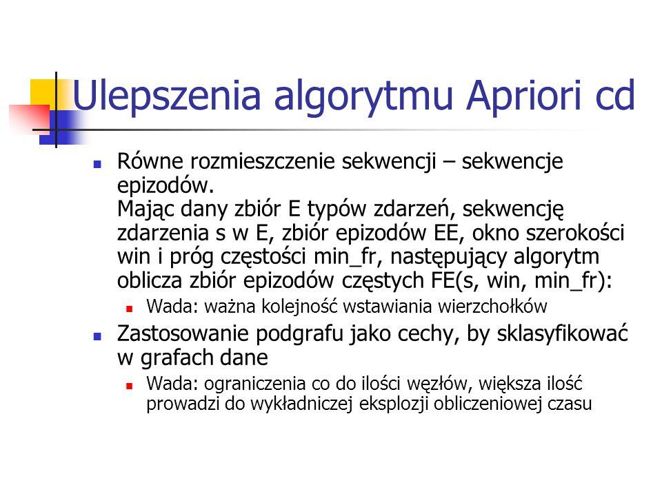 Ulepszenia algorytmu Apriori cd Równe rozmieszczenie sekwencji – sekwencje epizodów. Mając dany zbiór E typów zdarzeń, sekwencję zdarzenia s w E, zbió
