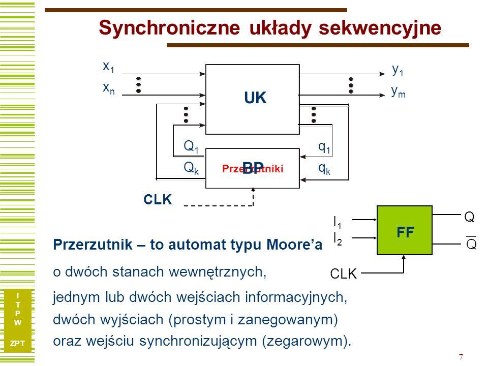 I T P W ZPT 7 x1xnx1xn y1ymy1ym Q1QkQ1Qk q1qkq1qk Synchroniczne układy sekwencyjne UK Przerzutniki CLK BP FF I1I1 I2I2 Q CLK Przerzutnik – to automat typu Moorea o dwóch stanach wewnętrznych, jednym lub dwóch wejściach informacyjnych, dwóch wyjściach (prostym i zanegowanym) oraz wejściu synchronizującym (zegarowym).