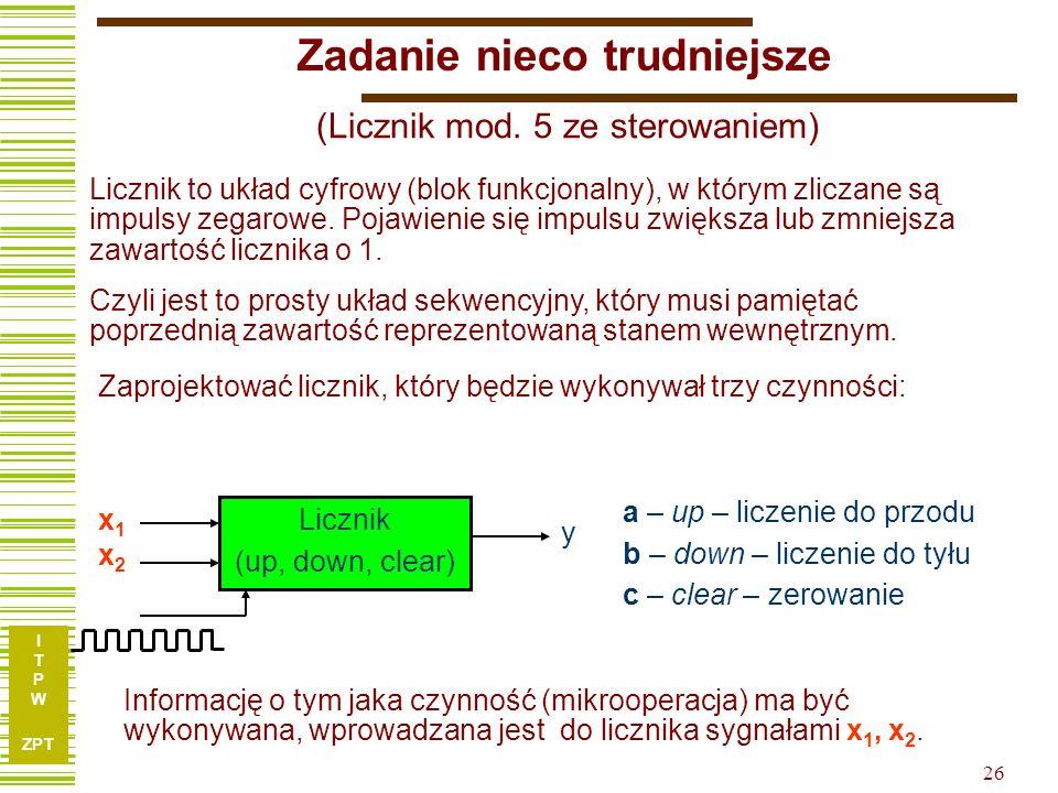 I T P W ZPT 26 a – up – liczenie do przodu b – down – liczenie do tyłu c – clear – zerowanie x1x2x1x2 Zadanie nieco trudniejsze (Licznik mod. 5 ze ste