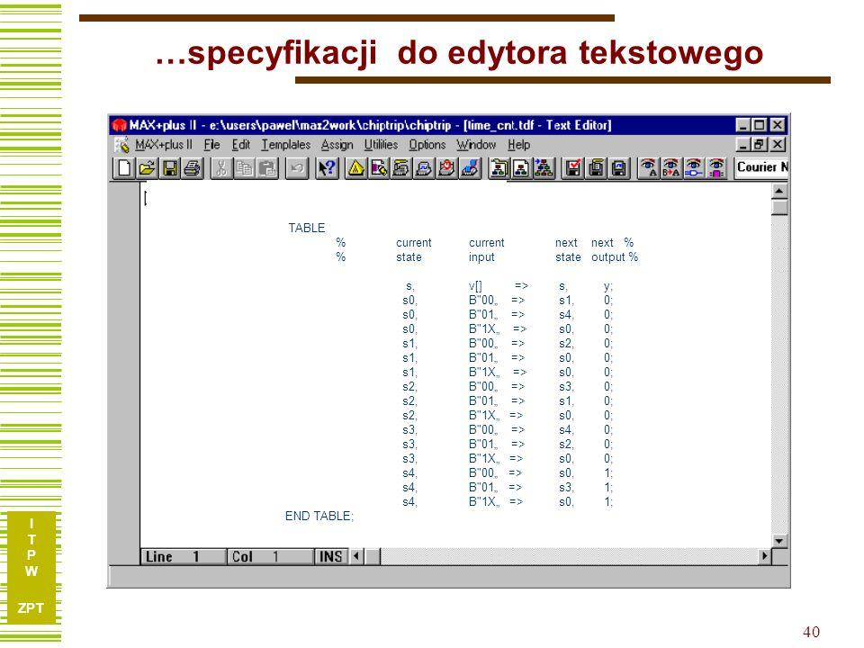 I T P W ZPT 40 …specyfikacji do edytora tekstowego TABLE % current currentnext next % % stateinputstate output % s, v[] => s, y; s0,B