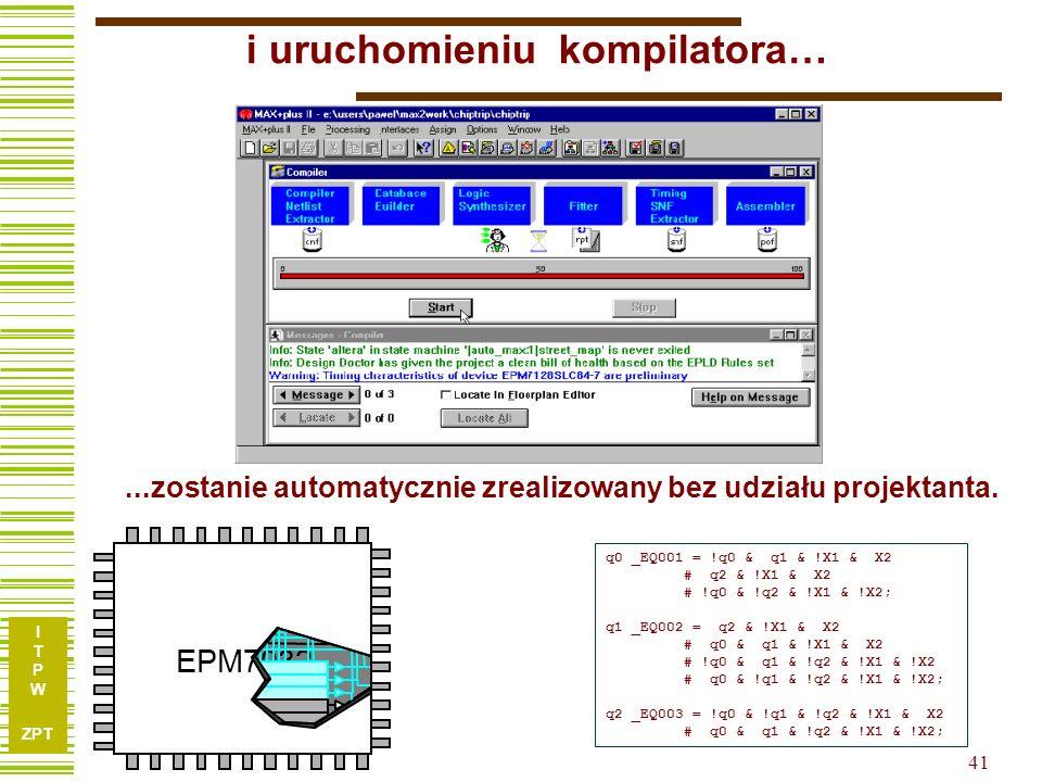 I T P W ZPT 41 i uruchomieniu kompilatora… q0 _EQ001 = !q0 & q1 & !X1 & X2 # q2 & !X1 & X2 # !q0 & !q2 & !X1 & !X2; q1 _EQ002 = q2 & !X1 & X2 # q0 & q