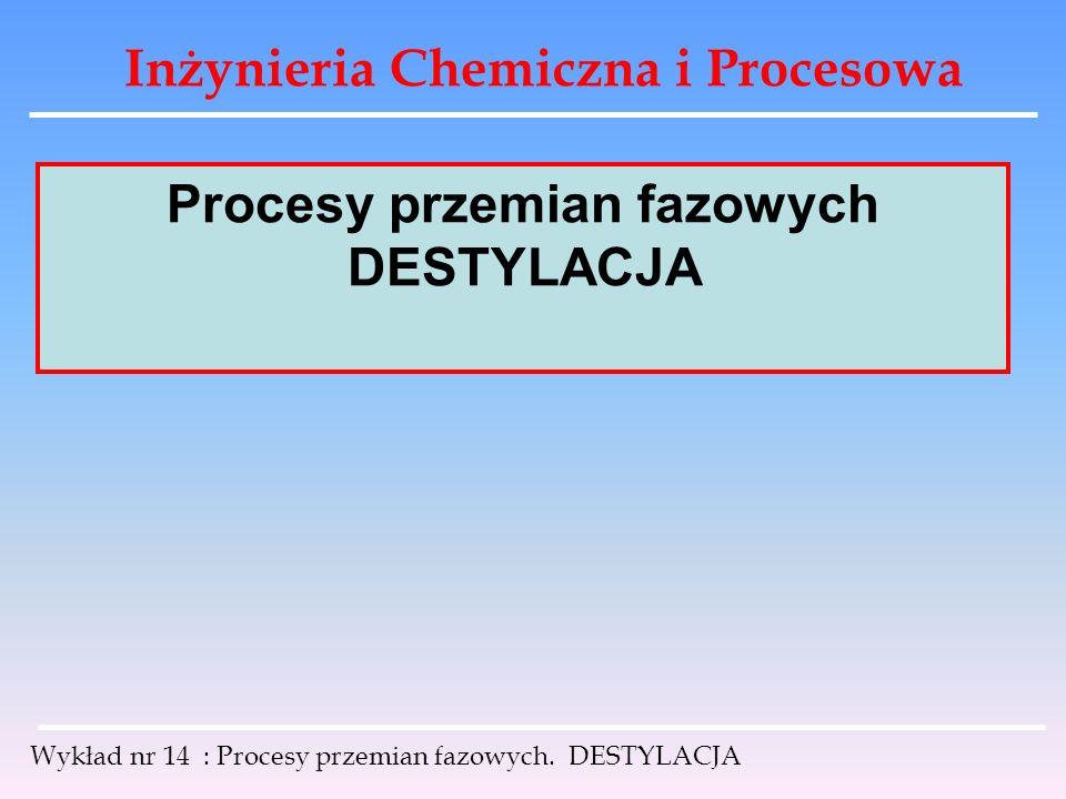 Inżynieria Chemiczna i Procesowa Wykład nr 14 : Procesy przemian fazowych. DESTYLACJA