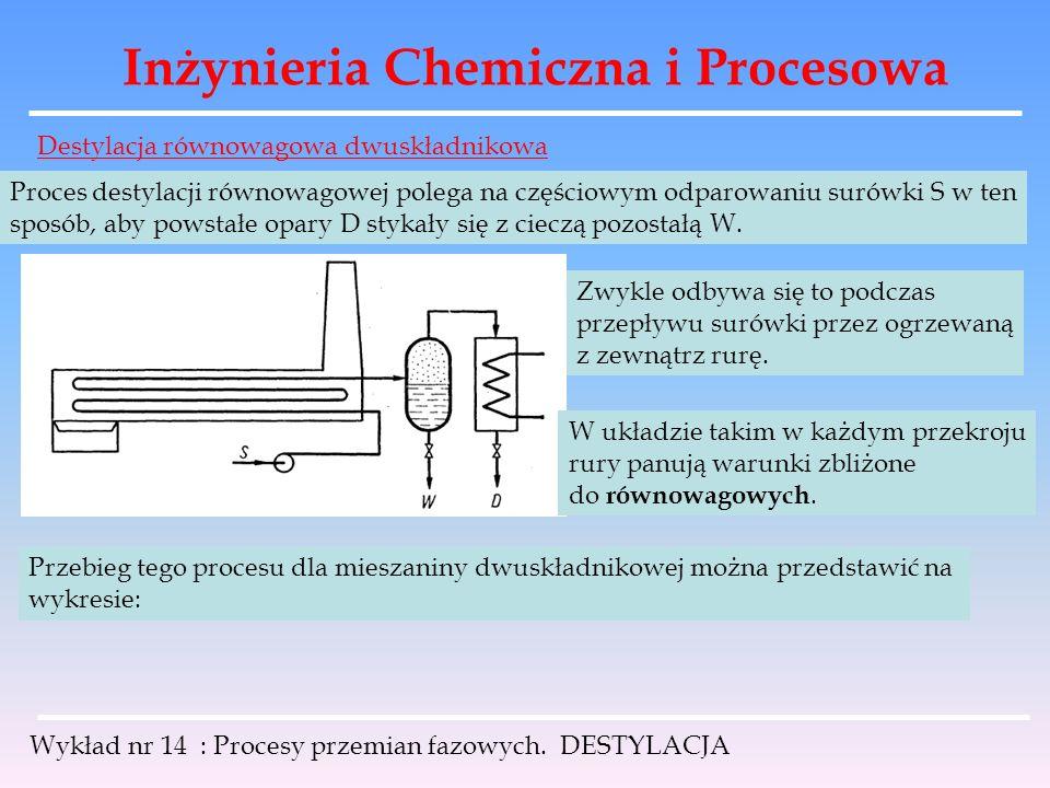Inżynieria Chemiczna i Procesowa Wykład nr 14 : Procesy przemian fazowych. DESTYLACJA Destylacja równowagowa dwuskładnikowa Proces destylacji równowag